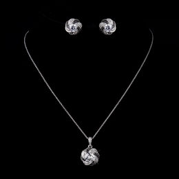 """Midnight Magic"" Clear and Black Cubic Zirconia (CZ) Necklace and Earrings Set"