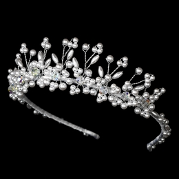 """Mirage"" Pearl Tiara with Swarovski Crystal Accents (White on Silver)"