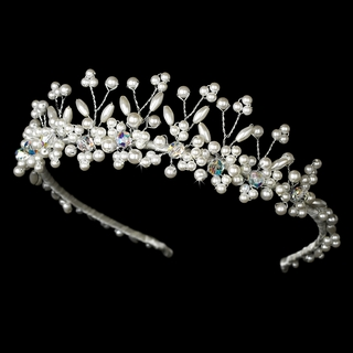 """Mirage"" Pearl Tiara with Swarovski Crystal Accents (Ivory on Silver)"