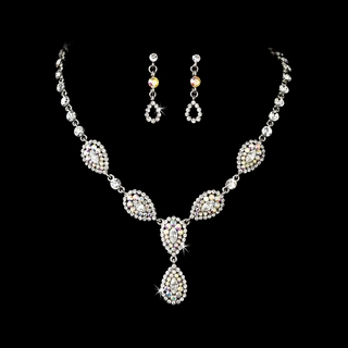"""Mon Amour"" Vintage-style Pavé Necklace and Earrings Set"