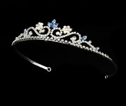"""My Fair Lady"" Rhinestone and Pearl Tiara (Blue on Silver)"