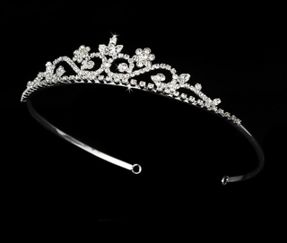 """My Fair Lady"" Rhinestone Tiara (Clear on Silver)"