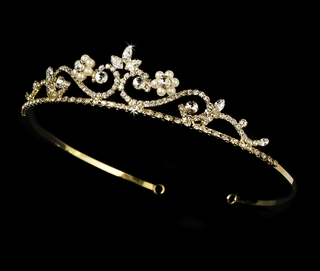 """My Fair Lady"" Rhinestone and Pearl Tiara (Ivory Pearls on Gold)"