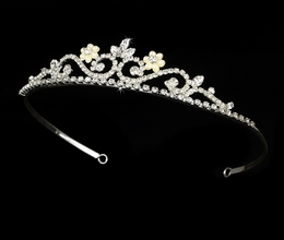 """My Fair Lady"" Rhinestone and Pearl Tiara (Ivory Pearls on Silver)"