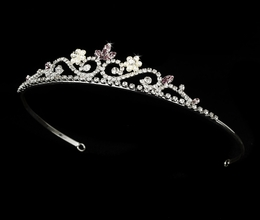 """My Fair Lady"" Rhinestone and Pearl Tiara (Lilac on Silver)"