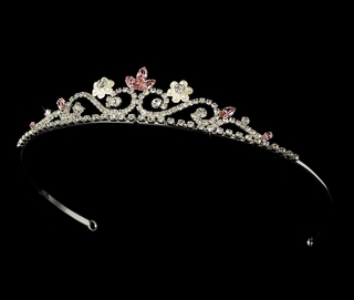 """My Fair Lady"" Rhinestone and Pearl Tiara (Pink on Silver)"