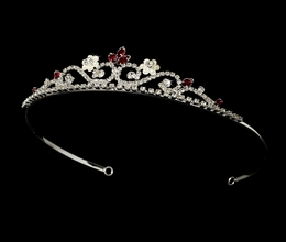 """My Fair Lady"" Rhinestone and Pearl Tiara (Red on Silver)"