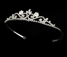 """My Fair Lady"" Rhinestone and Pearl Tiara (White Pearls on Silver)"