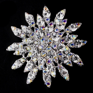 """""""Northern Lights"""" Clear and AB-Reflective Rhinestone Brooch on Antique Silver"""
