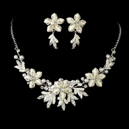 """Paradise"" Swarovski Crystal Necklace and Earrings Set (White on Silver)"