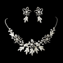"""""""Paradise"""" Swarovski Crystal Necklace and Earrings Set (Black on Silver)"""