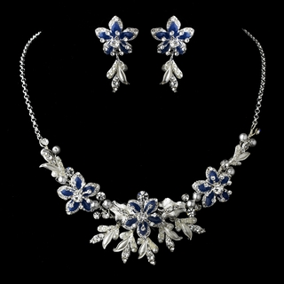 """Paradise"" Swarovski Crystal Necklace and Earrings Set (Blue on Silver)"