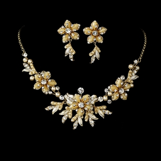 """Paradise"" Swarovski Crystal Necklace and Earrings Set (Champagne on Gold)"