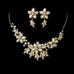 """Paradise"" Swarovski Crystal Necklace and Earrings Set (Ivory on Gold)"