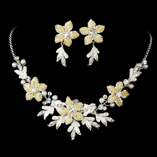 """Paradise"" Swarovski Crystal Necklace and Earrings Set (Ivory on Silver)"