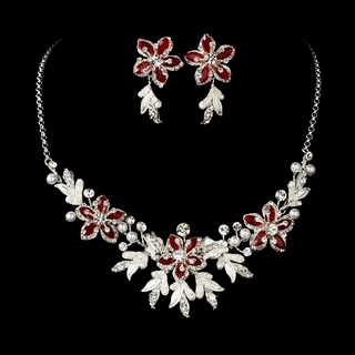 """Paradise"" Swarovski Crystal Necklace and Earrings Set (Red on Silver)"