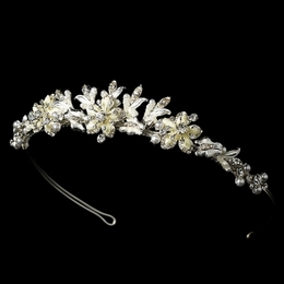 """Paradise"" Swarovski Crystal Tiara (White on Silver)"
