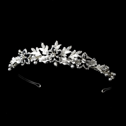 """Paradise"" Swarovski Crystal Tiara (Black on Silver)"
