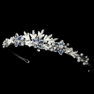 """Paradise"" Swarovski Crystal Tiara (Blue on Silver)"