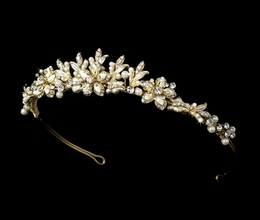 """Paradise"" Swarovski Crystal Tiara (Ivory on Gold)"