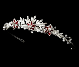 """Paradise"" Swarovski Crystal Tiara (Red on Silver)"