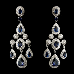 """Park Avenue"" Cubic Zirconia (CZ) Chandelier Earrings (Sapphire Blue)"