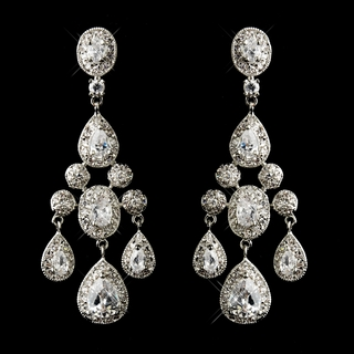 """Park Avenue"" Cubic Zirconia (CZ) Chandelier Earrings (Silver)"