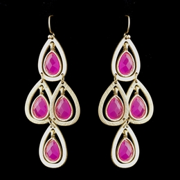 """Party Time"" Chandelier Earrings (Fuchsia on Gold)"