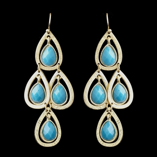 """Party Time"" Chandelier Earrings (Turquoise Blue on Gold)"