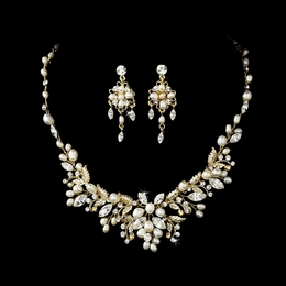 """Perfect Harmony"" Crystal and Freshwater Pearl Floral Necklace and Earrings Set (Gold)"