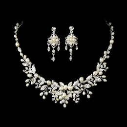 """Perfect Harmony"" Crystal and Freshwater Pearl Floral Necklace and Earrings Set (Silver)"