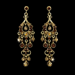 """Promise"" Antique Gold Crystal Chandelier Earrings (Topaz)"