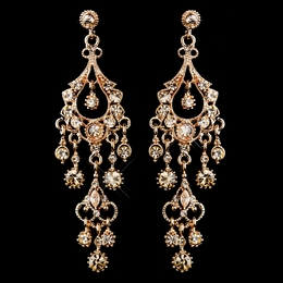 """Promise"" Antique Rose Gold Crystal Chandelier Earrings (Champagne)"