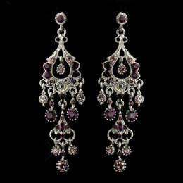 """Promise"" Antique Silver Crystal Chandelier Earrings (Amethyst)"