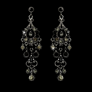 """Promise"" Antique Silver Crystal Chandelier Earrings (Black)"