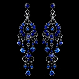 """Promise"" Antique Silver Crystal Chandelier Earrings (Blue)"
