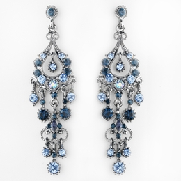 """Promise"" Antique Silver Crystal Chandelier Earrings (Navy)"