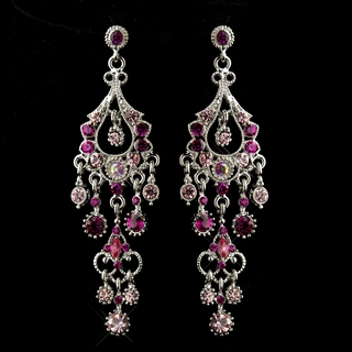 """Promise"" Antique Silver Crystal Chandelier Earrings (Pink)"