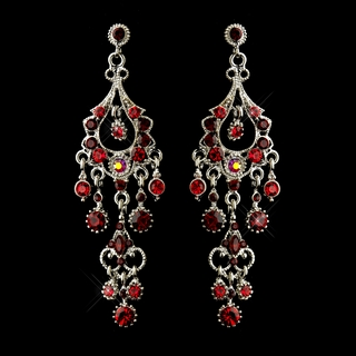 """Promise"" Antique Silver Crystal Chandelier Earrings (Red)"