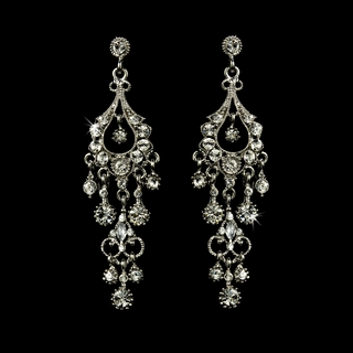 """Promise"" Antique Silver Crystal Chandelier Earrings (Silver)"