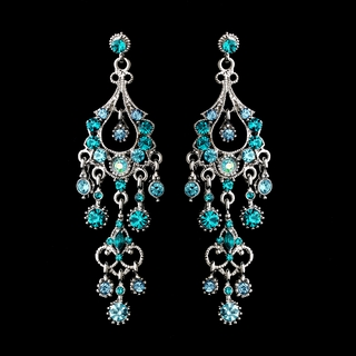 """Promise"" Antique Silver Crystal Chandelier Earrings (Teal)"
