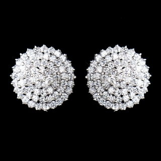 """Puttin' on the Ritz"" Antique Silver Cubic Zirconia (CZ) Round Earrings"