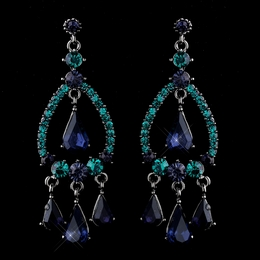 """Quickstep"" Crystal Rhinestone Chandelier Earrings (Navy/Teal)"