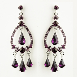 """Quickstep"" Crystal Rhinestone Chandelier Earrings (Amethyst)"