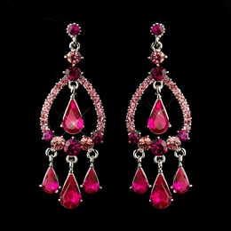 """Quickstep"" Crystal Rhinestone Chandelier Earrings (Fuchsia)"