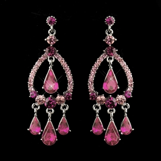 """Quickstep"" Crystal Rhinestone Chandelier Earrings (Pink)"