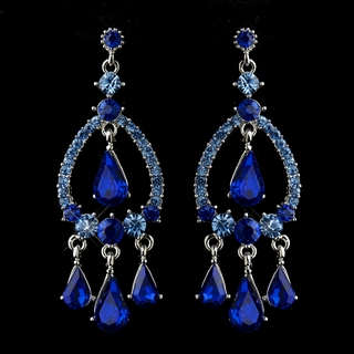 """Quickstep"" Crystal Rhinestone Chandelier Earrings (Sapphire Blue)"