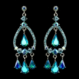 """Quickstep"" Crystal Rhinestone Chandelier Earrings (Turquoise/AB-Reflective)"