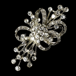 """Radiance"" Antique Silver Vintage-style Rhinestone Brooch"