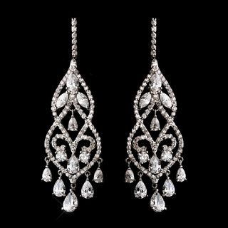 """Raindrops on Roses"" Cubic Zirconia (CZ) Chandelier Earrings"